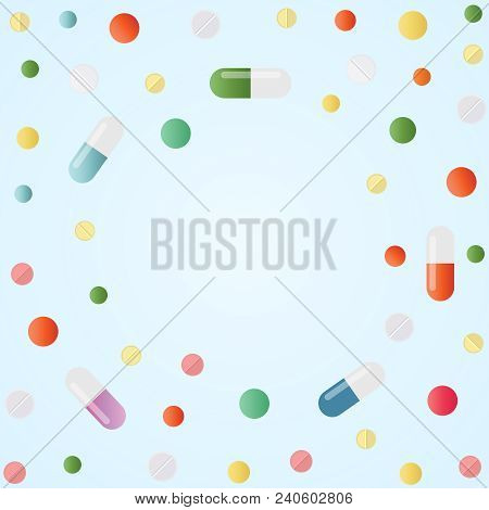 Assorted Pharmaceutical Medicine Pills, Drugs, Tablets, Capsules Vitamins. Vector Illustration On Bl
