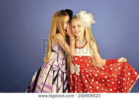 Friendship, Look, Hairdresser, Wedding. Little Girls In Fashionable Dress, Prom. Family Fashion Mode