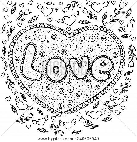 Coloring Page For Adults With Mandala And Love Word. Doodle Lettering Ink Outline Artwork. Vector Il