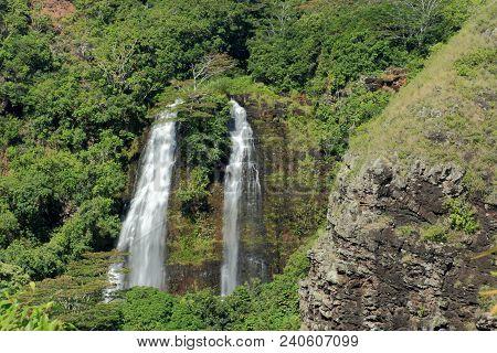 Opaekaa Falls  Kauai, Hawaii On A Sunny Day