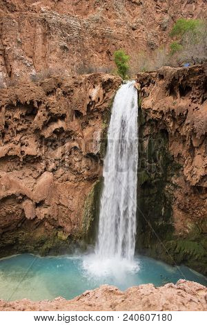 Mooney Falls Designates The End Of The Backpackers Campground On The Popular Havasu Falls Hike Near