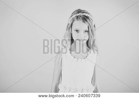 Little girl in fashionable dress, prom. Child girl in stylish glamour dress, elegance. Fashion model on pink background, beauty. Look, hairdresser, makeup. Fashion and beauty, little princess. poster