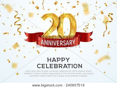 20 Years Anniversary Vector Banner Template. Twentieth Year Jubilee With Red Ribbon And Confetti On