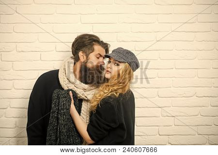 Relations Of Girl And Guy In Autumn. Man With Beard And Girl With Long Hair. Boyfriend And Girlfrien