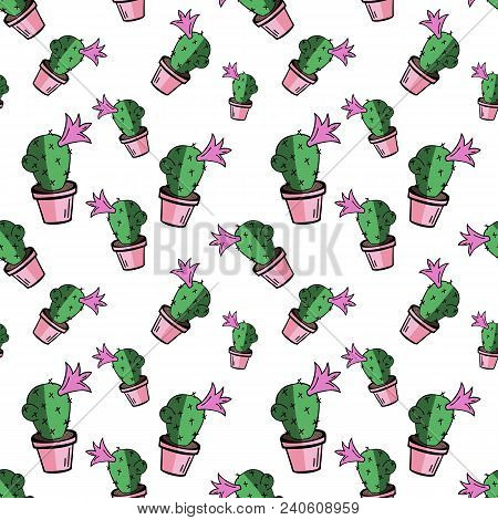 Home Blossom Green Cactus In Pink Pot In Doodle Style, Flat Cartoon Colors, Seamless Pattern Isolate