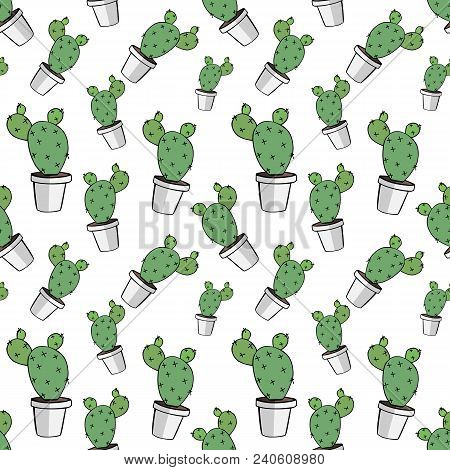 Home Green Cactus In White Pot In Doodle Style, Flat Cartoon Colors, Seamless Pattern Isolated On Wh