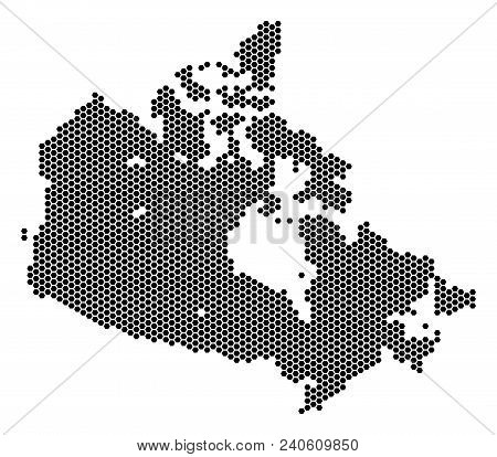 Hex-tile Canada Map. Vector Territorial Scheme On A White Background. Abstract Canada Map Concept Is