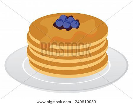 Vector Illustration Of Stack Of Pancakes With Maple Syrup And Blueberries.