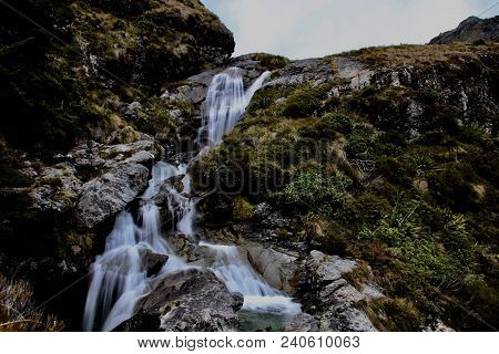Waterfall, Nature Waterfall Creek Flowing, Natural River Cascade In Wilderness, Blurred Waterfall Mo