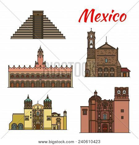 Travel Landmark Of Mexican And North American Architecture Icon Set. Ancient Aztec Pyramid Of Chiche