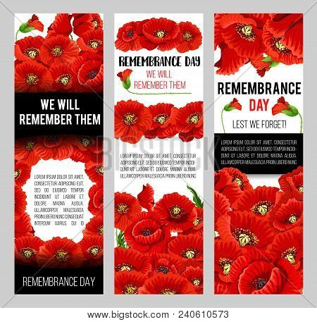 Remembrance day poppy vector photo free trial bigstock remembrance day poppy banner for world war soldier and veteran memory day template red poppy flower memorial card design with floral frame and lest we mightylinksfo