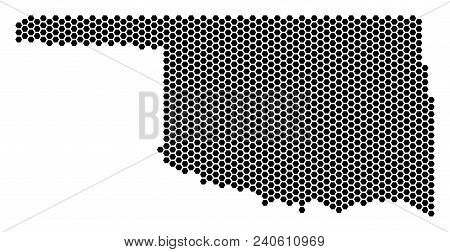 Honeycomb Oklahoma State Map. Vector Territorial Scheme On A White Background. Abstract Oklahoma Sta