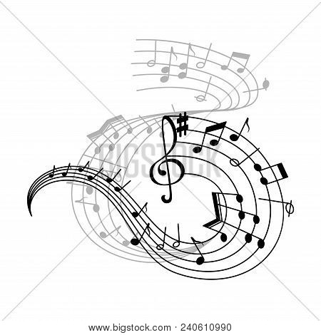 Music Note Stave Icon Of Musical Notation Symbols. Swirling Musical Staff With Notes Of Different Du