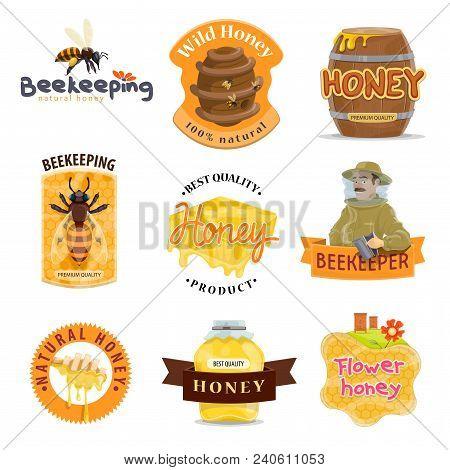 Honey Natural Food Label Set Of Beekeeping Farm Organic Product. Bee, Honeycomb And Beehive, Honey J