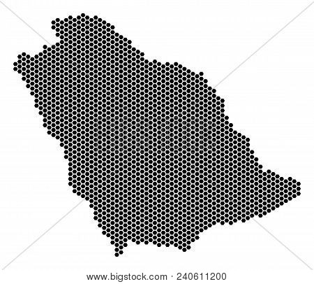 Hex Tile Saudi Arabia Map. Vector Territorial Plan On A White Background. Abstract Saudi Arabia Map