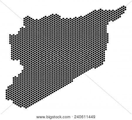 Hexagon Syria Map. Vector Territorial Scheme On A White Background. Abstract Syria Map Composition I