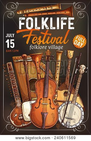 Folk Music Festival Invitation Poster With Ethnic Musical Instrument. Italian Viola, Indian Sitar An