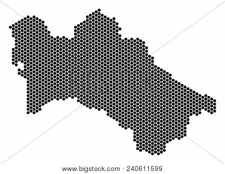 Hexagonal Turkmenistan Map. Vector Geographic Plan On A White Background. Abstract Turkmenistan Map