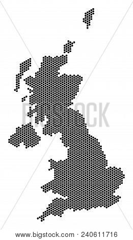 Hexagon United Kingdom Map. Vector Geographic Plan On A White Background. Abstract United Kingdom Ma