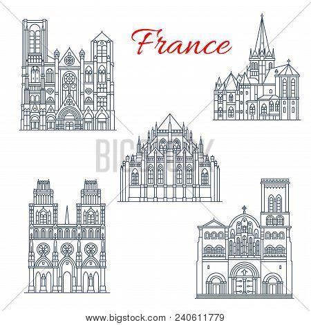French Roman Catholic Church Travel Landmark Thin Line Icon Set. Cathedral Of St Lazarus Of Autun, V