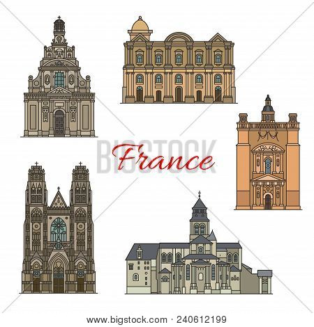 French Travel Landmark Icon With Religious Tourist Sights. St Gatien Cathedral, Taal Basilica And Ab