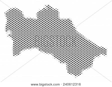 Schematic Turkmenistan Map. Vector Halftone Geographical Plan. Grey Dotted Cartographic Composition.
