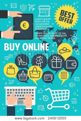 Buy Online Poster For Internet Shopping And Web Marketing Concept. Shopping Cart, Basket And Money,