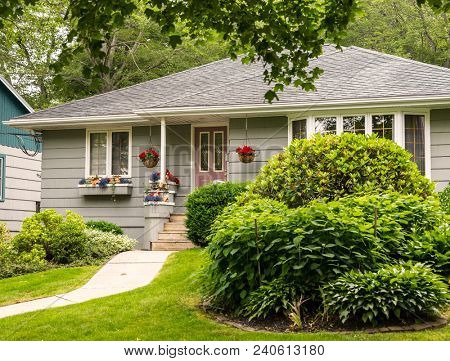 Old style bungalow from the 60s or 70s.