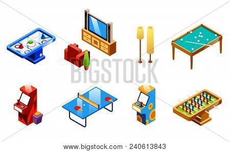 Vector Isometric Recreation Room Entertainments And Amusements Set. Table Tennis Or Ping-pong, Foosb