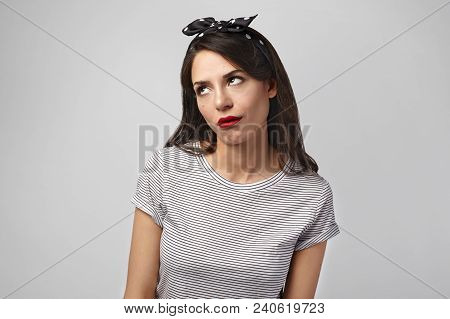 Picture Of Annoyed Irritated Young Dark Haired Female Wearing Headscarf Rolling Eyes, Havign Mournfu