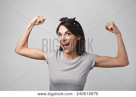 People, Health, Sports And Fitness Concept. Portrait Of Excited Happy Young Fit Athletic Woman Openi