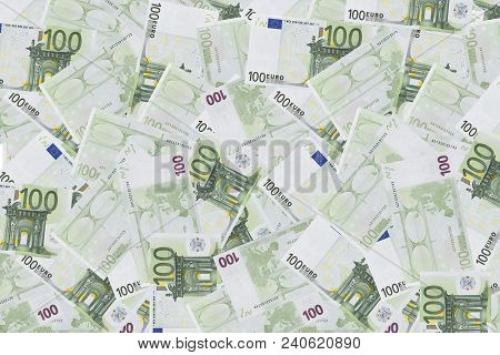 Pile Of One Hundred Euro Banknotes. Stack Of Hundred Euro Bills Use For Money Background And Financi