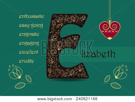 Name Day Card For Elizabeth. Brown Letter E With Golden Floral Decor. Vintage Red Heart With Chain.