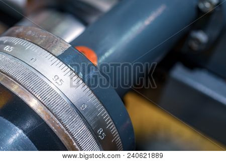 The Carriage Slide. Mechanical Wheel Carriage Control. Vintage Metal Cutting Lathe. The Old Mechanic
