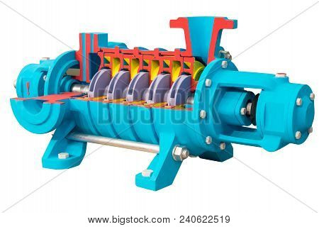 Horizontal Multi-section Water Pump, Cross-section. The Internal Device Is Shown. Isolated On White