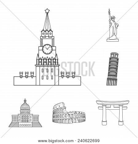Sights Of Different Countries Outline Icons In Set Collection For Design. Famous Building Vector Sym