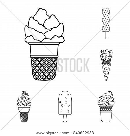Different Ice Cream Outline Icons In Set Collection For Design. Dessert And Sweetness Vector Symbol