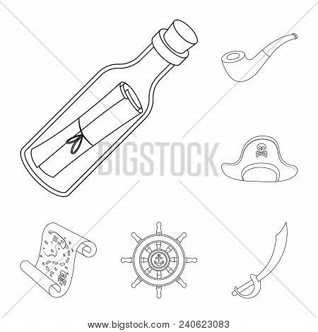 Pirate, Sea Robber Outline Icons In Set Collection For Design. Treasures, Attributes Vector Symbol S