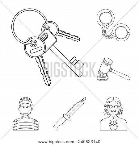 Prison And The Criminaloutline Icons In Set Collection For Design.prison And Attributes Vector Symbo