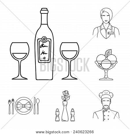 Restaurant And Bar Outline Icons In Set Collection For Design. Pleasure, Food And Alcohol Vector Sym