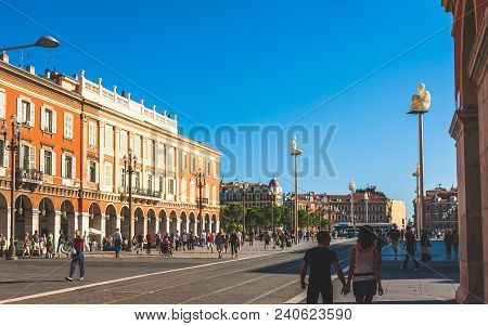 Nice, France - October 11, 2009: Place Massena In Nice Is Historic Square With Italian Architecture