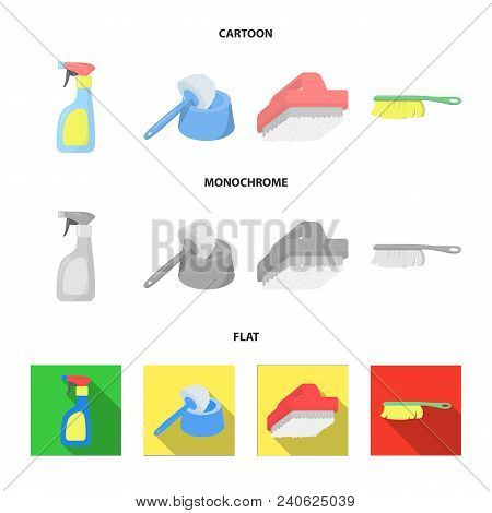 Cleaning And Maid Cartoon, Flat, Monochrome Icons In Set Collection For Design. Equipment For Cleani