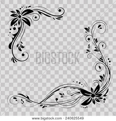 Floral Corner Design. Ornament Black Flowers On Transparent Background - Vector Stock. Decorative Bo
