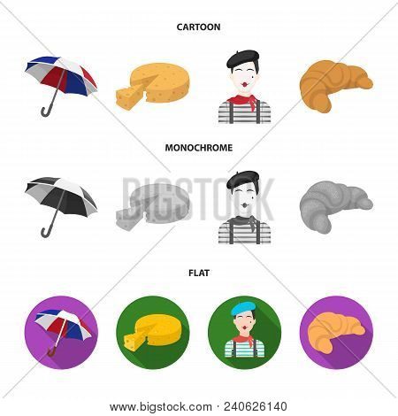 Umbrella, Traditional, Cheese, Mime .france Country Set Collection Icons In Cartoon, Flat, Monochrom