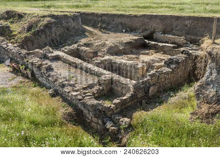 Remnants And Ruins Of An Ancient Roman Fortress. Ruins Of Ancient Fortress Novae, Bulgaria