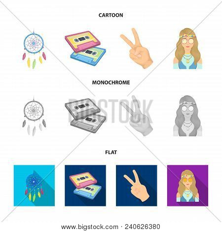Amulet, Hippie Girl, Freedom Sign, Old Cassette.hippy Set Collection Icons In Cartoon, Flat, Monochr