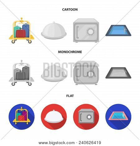 Trolley With Luggage, Safe, Swimming Pool, Clutch.hotel Set Collection Icons In Cartoon, Flat, Monoc