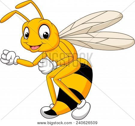 Cartoon Bee Hornet Isolated On White Background