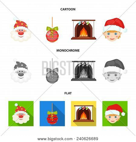 Santa Claus, Dwarf, Fireplace And Decoration Cartoon, Flat, Monochrome Icons In Set Collection For D