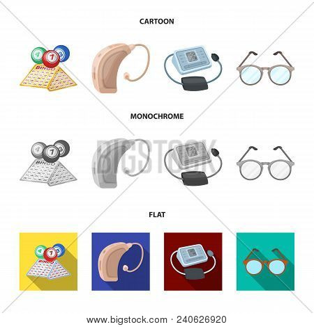 Lottery, Hearing Aid, Tonometer, Glasses.old Age Set Collection Icons In Cartoon, Flat, Monochrome S